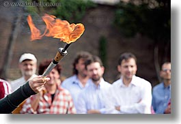europe, flame, horizontal, italy, men, people, rome, torch, photograph