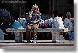 benches, bottles, europe, horizontal, italy, people, rome, water, womens, photograph