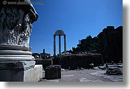 architectural ruins, castor, europe, horizontal, italy, pollux, rome, temples, photograph