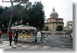 architectural ruins, domes, europe, fruits, horizontal, italy, rome, stands, photograph