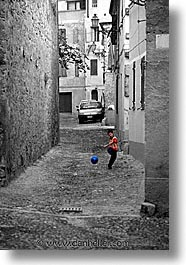 alghero, balls, black and white, color composite, color/bw composite, europe, italy, kick, people, sardinia, vertical, photograph