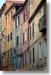 alghero, buildings, europe, italy, rows, sardinia, streets, vertical, photograph
