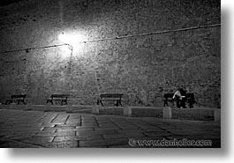 alghero, black and white, couples, europe, horizontal, italy, sardinia, streets, photograph