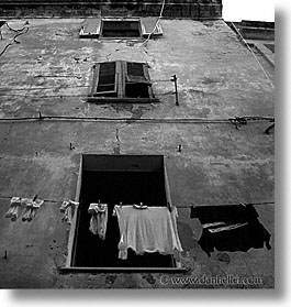 alghero, black and white, europe, italy, laundry, sardinia, square format, windows, photograph
