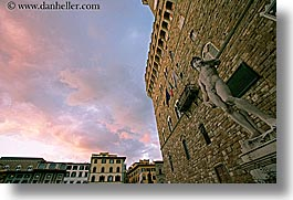 arts, clouds, david, europe, florence, horizontal, italy, sky, statues, stones, sunsets, tuscany, photograph