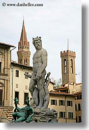 arts, europe, florence, italy, statues, stones, tuscany, vertical, zeus, photograph