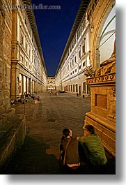 buildings, couples, europe, florence, italy, long exposure, men, museums, nite, sitting, tuscany, uffizio, vertical, womens, photograph