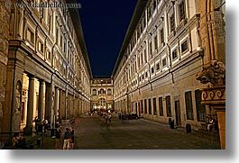 buildings, europe, florence, horizontal, italy, museums, nite, slow exposure, tuscany, uffizio, photograph