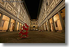 arts, buildings, europe, florence, horizontal, italy, long exposure, modern art, museums, nite, statues, tuscany, uffizio, photograph