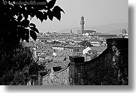 black and white, cities, cityscapes, europe, florence, horizontal, italy, tuscany, photograph
