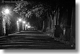 black and white, europe, florence, horizontal, italy, lamp posts, long exposure, nite, trees, tuscany, photograph