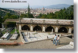 cityscapes, couples, europe, florence, graveyard, horizontal, italy, men, people, tuscany, walking, womens, photograph