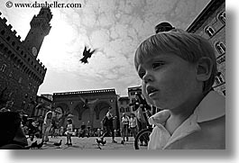 birds, black and white, boys, childrens, europe, florence, horizontal, italy, jacks, people, pigeons, toddlers, tuscany, photograph