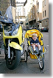 boys, childrens, europe, florence, happy, italy, jacks, motorcycles, people, stroller, toddlers, tuscany, vertical, photograph