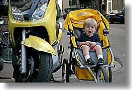 boys, childrens, europe, florence, happy, horizontal, italy, jacks, motorcycles, people, sitting, stroller, toddlers, tuscany, yawn, photograph