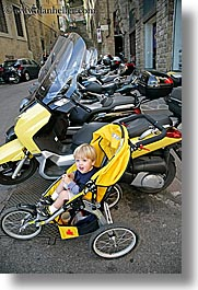 boys, childrens, europe, florence, italy, jacks, motorcycles, people, sitting, stroller, toddlers, tuscany, vertical, photograph