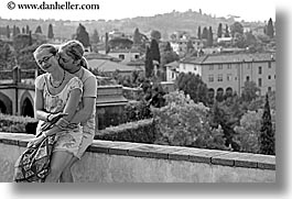 black and white, couples, europe, florence, horizontal, italy, men, people, romantic, sitting, tuscany, womens, photograph