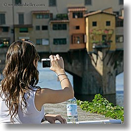 bridge, cameras, europe, florence, italy, people, photographers, photographing, ponte vecchio, square format, tuscany, womens, photograph