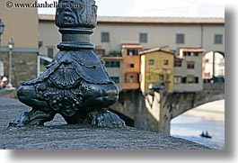 base, boats, bridge, europe, florence, horizontal, italy, lamp posts, ponte vecchio, rivers, row boat, tuscany, photograph