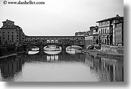 arno, black and white, bridge, europe, florence, horizontal, italy, ponte vecchio, rivers, tuscany, photograph