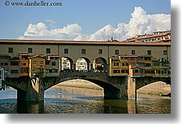 arno, boats, bridge, clouds, europe, florence, horizontal, italy, ponte vecchio, rivers, row boat, tuscany, photograph