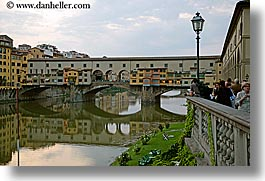 bridge, europe, florence, horizontal, italy, lamp posts, lawn, ponte vecchio, rivers, tuscany, photograph