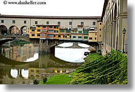 bridge, europe, florence, horizontal, italy, lawn, ponte vecchio, rivers, tuscany, photograph