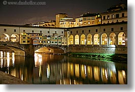 bridge, europe, florence, horizontal, italy, long exposure, nite, ponte vecchio, rivers, tuscany, photograph