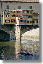boats, bridge, europe, florence, italy, ponte vecchio, rivers, row boat, tuscany, vertical, photograph