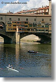 boats, bridge, clouds, europe, florence, italy, ponte vecchio, rivers, row boat, tuscany, vertical, photograph