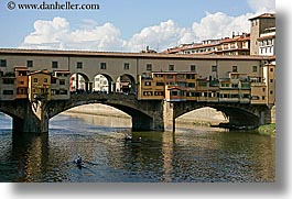 boats, bridge, clouds, europe, florence, horizontal, italy, ponte vecchio, rivers, row boat, tuscany, photograph