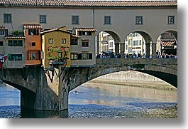 boats, bridge, europe, florence, horizontal, italy, ponte vecchio, rivers, row boat, tuscany, windows, photograph