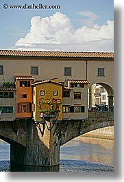 bridge, clouds, europe, florence, italy, ponte vecchio, rivers, tuscany, vertical, windows, photograph