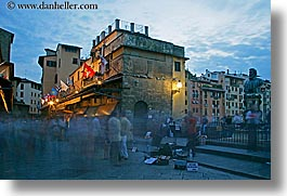 bridge, europe, florence, horizontal, italy, long exposure, motion blur, nite, people, ponte vecchio, tops, tuscany, photograph