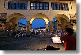bridge, europe, florence, guitars, horizontal, italy, long exposure, music, musicians, nite, people, playing, ponte vecchio, tuscany, womens, photograph