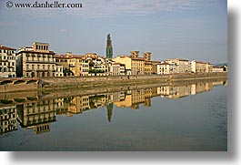 arno river, buildings, europe, florence, horizontal, italy, reflections, rivers, scenics, tuscany, photograph
