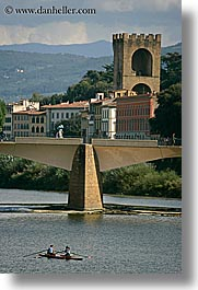 arno river, boats, buildings, europe, florence, fortress, italy, rivers, row boat, scenics, tuscany, vertical, photograph