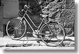 bicycles, black and white, europe, florence, horizontal, italy, streets, tuscany, photograph
