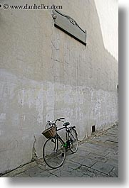 bicycles, cobblestones, europe, florence, italy, streets, tuscany, vertical, photograph