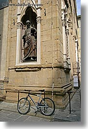 arts, bicycles, europe, florence, italy, statues, stones, streets, tuscany, vertical, photograph