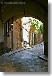 archways, bicycles, cobblestones, europe, florence, italy, streets, tunnel, tuscany, vertical, photograph