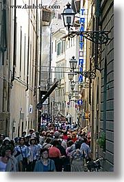 crowded, crowds, europe, florence, italy, lamp posts, people, streets, tuscany, vertical, photograph