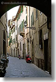 alleys, archways, cobblestones, europe, florence, italy, motorcycles, streets, tuscany, vertical, photograph