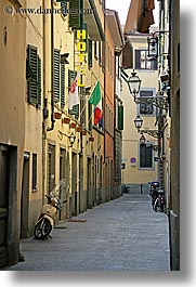 alleys, cobblestones, europe, florence, italy, motorcycles, streets, tuscany, vertical, photograph