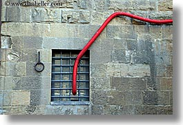 europe, florence, horizontal, hose, italy, red, tuscany, windows, photograph