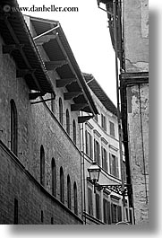black and white, buildings, curved, europe, florence, italy, tuscany, vertical, windows, photograph