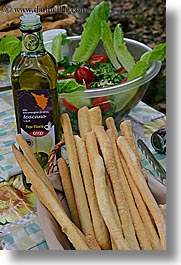 bread, bread sticks, europe, foods, italy, olive oil, salad, tuscany, vertical, photograph
