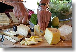 cheese, europe, foods, hands, horizontal, italy, knife, tuscany, photograph