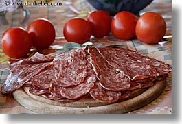 europe, foods, horizontal, italy, meats, tomatoes, tuscany, vegetables, photograph