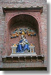 arts, bricks, europe, italy, jesus, madonna, monastery, monestaries, monte oliveto maggiore, religious, statues, tuscany, vertical, photograph